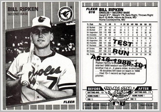 1989 Fleer Ff Test Issue 616 Bill Ripken Black And White Error